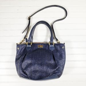 J. Crew Navy Blue Brompton Straw Bag